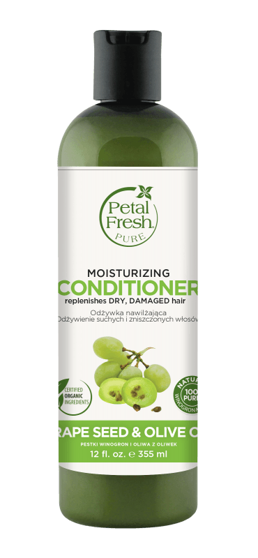 Naturalna odżywka nawilżająca do włosów suchych i zniszczonych Pestki winogron i Oliwa z oliwek Petal Fresh Pure